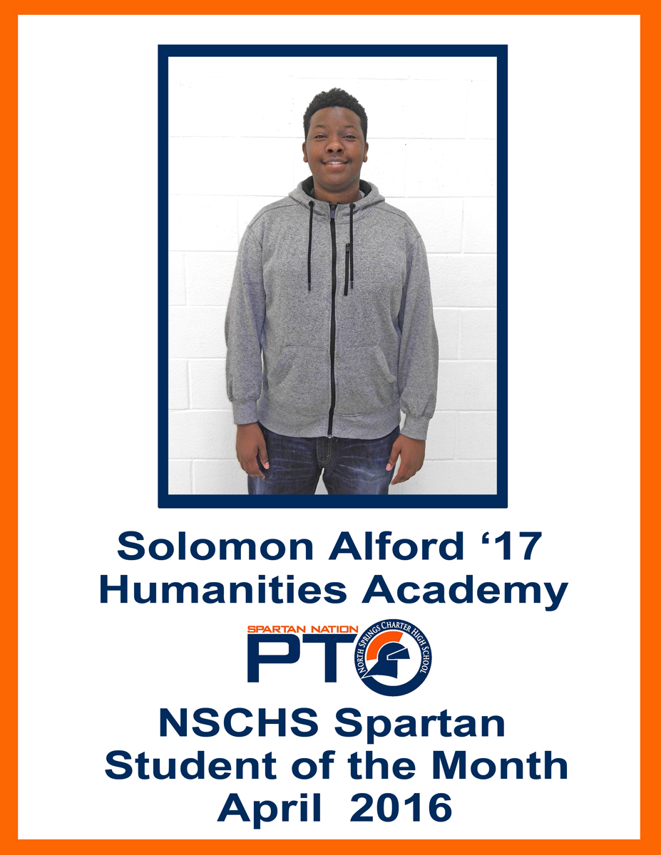 Student of the Month - April 2016 - Alford