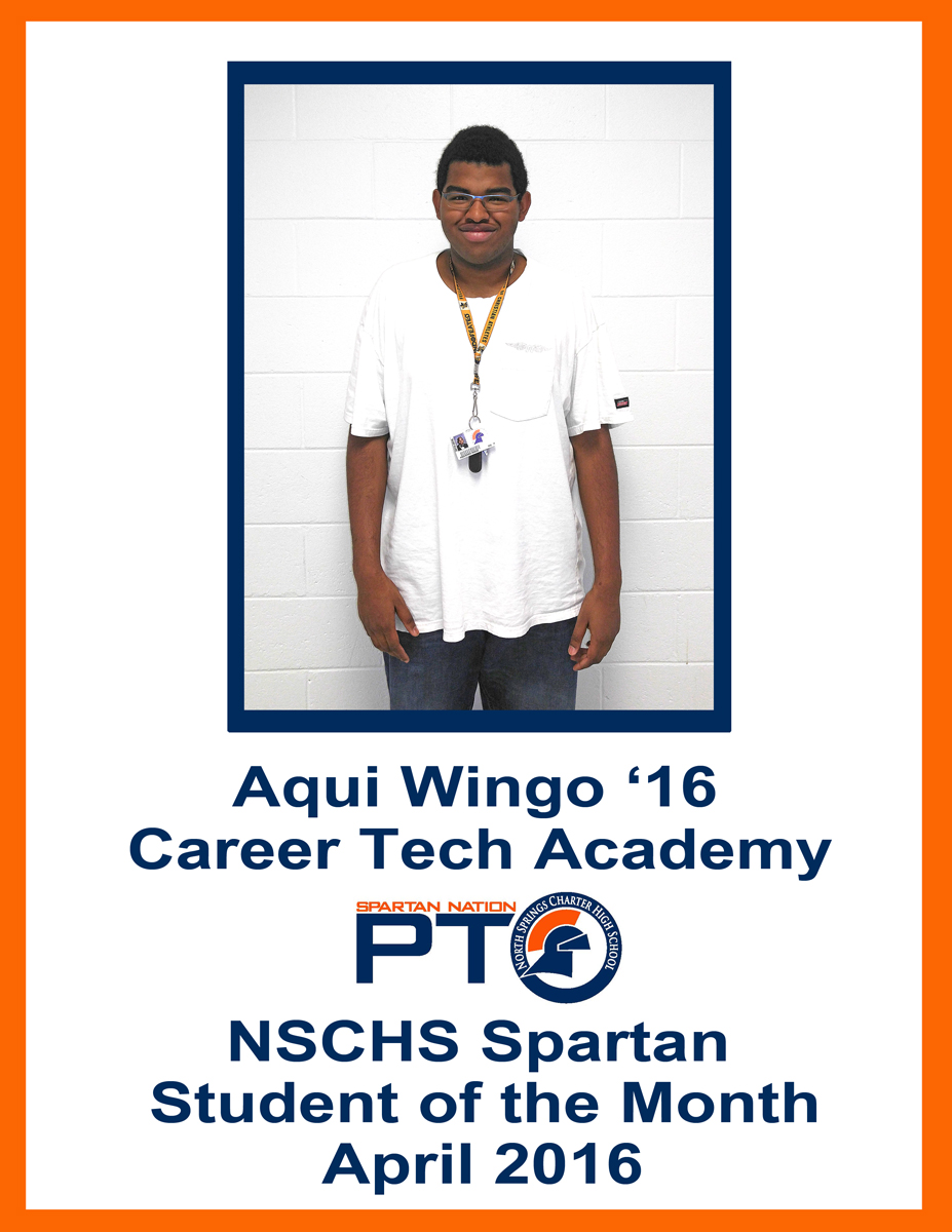 Student of the Month - April 2016 - Wingo